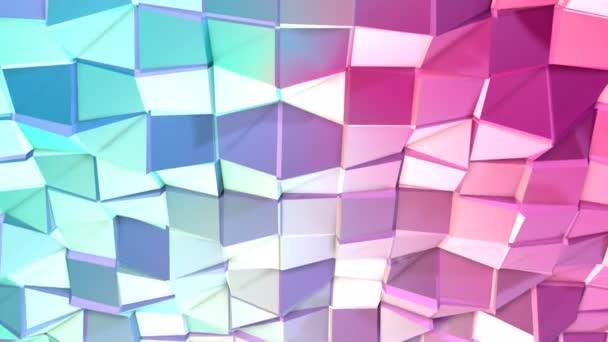 Abstraktní jednoduché modré růžové nízké poly 3d povrch jako Cg pozadí. Měkký geometrické nízké poly pohybu pozadí posunu čistě modrá růžová mnohoúhelníky. 4 k Fullhd bezešvé smyčka pozadí