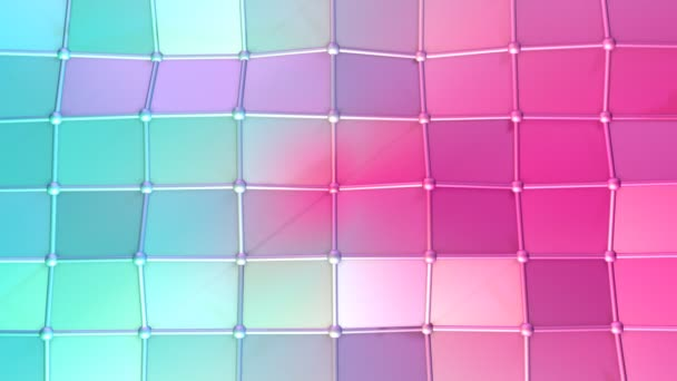 Absztrakt egyszerű kék rózsaszín alacsony poly 3d felület, mint a futurisztikus cyberspace. Lágy geometrikus alacsony poly mozgás háttérben változó tiszta kék rózsaszín sokszögek. 4 k Fullhd varrat nélküli hurok háttér