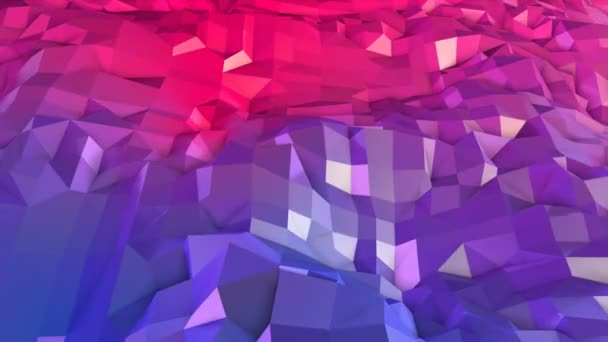 Abstract simple blue red low poly 3D surface as 3d cartoon background. Soft geometric low poly motion background with pure blue red polygons. 4K Fullhd seamless loop background with gradient blue red