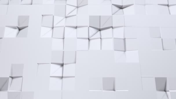 Simple low poly 3D surface as dream background. Soft geometric low poly background of pure white grey polygons. 4K Full hd seamless loop background with copy space
