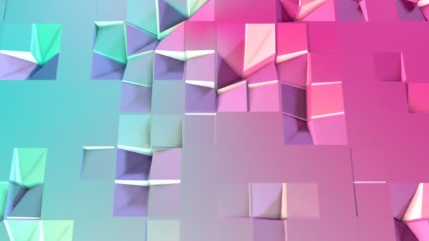 Abstract simple blue pink low poly 3D surface as trendy background. Soft geometric low poly motion background of shifting pure blue pink polygons. 4K Fullhd seamless loop background with copy space