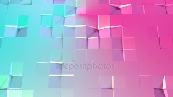 Abstract simple blue pink low poly 3D surface as cyber background. Soft geometric low poly motion background of shifting pure blue pink polygons. 4K Fullhd seamless loop background with copy space