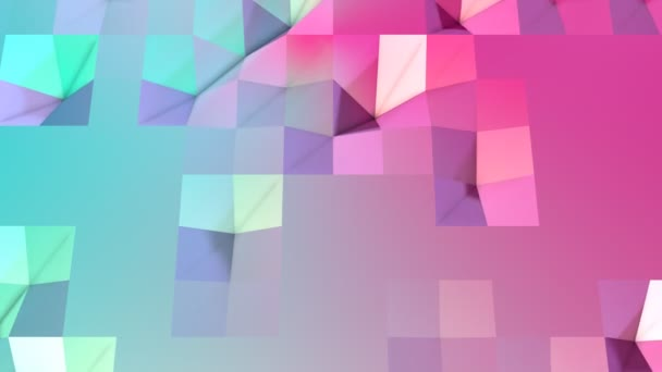 Abstract simple blue pink low poly 3D surface as molecular background. Soft geometric low poly motion background of shifting pure blue pink polygons. 4K Fullhd seamless loop background with copy space