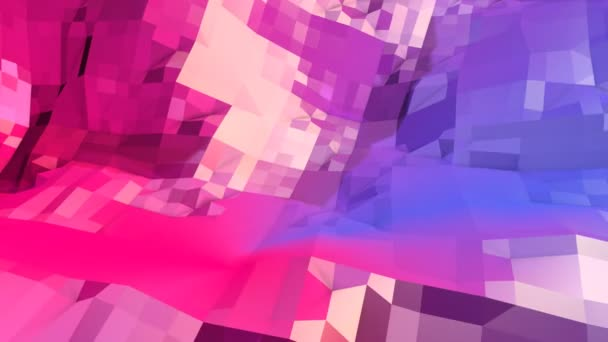 Abstract Simple Blue Red Low Poly 3D Surface As High Tech Background Soft Geometric Motion With Pure Polygons