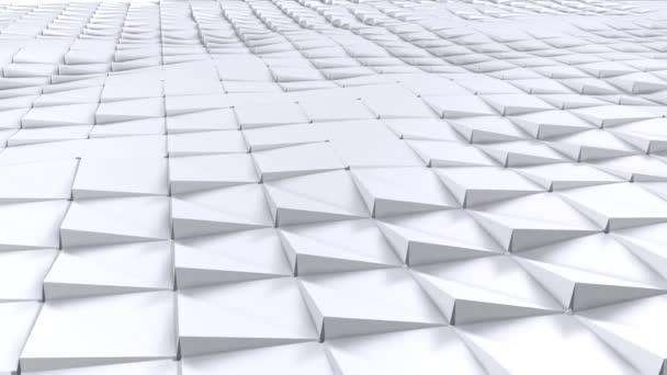 Egyszerű alacsony poly 3d hullámos felület molekuláris háttérként. Lágy geometrikus alacsony poly háttér tiszta fehér szürke sokszög. 4 k Full hd varrat nélküli hurok háttér-val másol hely