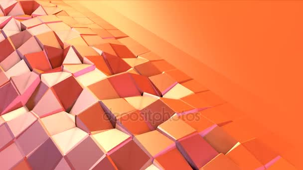 Simple low poly 3D surface as transforming environment. Soft geometric low poly motion background of shifting pure pink orange red polygons. 4K Fullhd seamless loop background with copy space