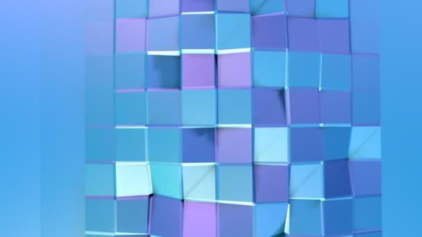 Absztrakt egyszerű kék lila alacsony poly 3D-s felületen fraktál háttérként. Lágy geometrikus alacsony poly mozgás háttér tiszta, kék, lila sokszögek. 4 k Fullhd varrat nélküli hurok háttér