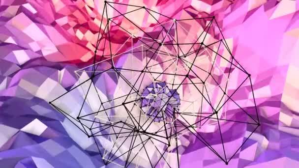 Měkký geometrické nízké poly pohybu pozadí s čistě modré červené mnohoúhelníky. Abstraktní jednoduché modré červené nízké poly 3d povrch jako sci-fi krajiny. 4 k Fullhd bezešvé smyčka pozadí s přechodem modrá červená