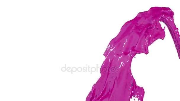 lila Farbe Fluss der Brunnen fliegen in Luft mit vielen Spritzern ...