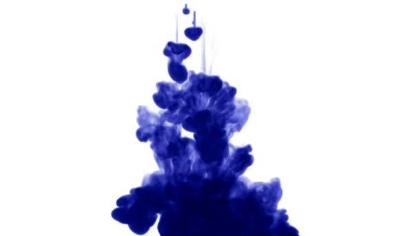 A lot of flows of isolated blue ink injects  Blue tint react in water ,  shot in slow motion  Use for inky background or backdrop with smoke or ink  effects, alpha channel is on use for it luma matte