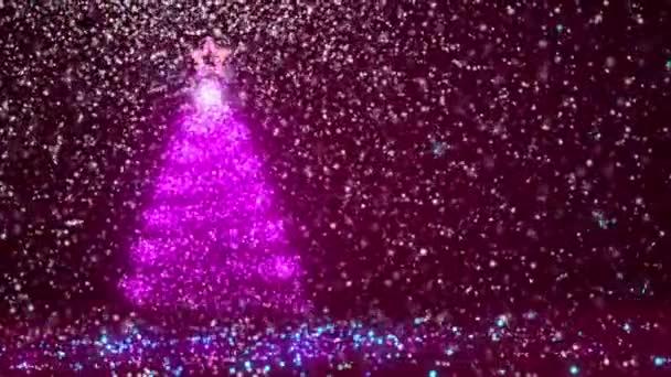 Fialový velký vánoční strom záře lesklé částice na levé straně. Zimní téma pro Vánoce nebo nový rok pozadí s kopie prostoru. 3D vánoční strom V1 s sníh Dof