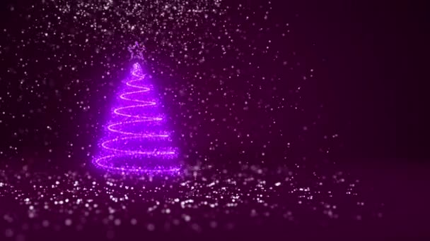 A karácsonyfa fénye fényes részecskék a bal oldali nagylátószögű lövés. Karácsony vagy újév háttér-val másol hely téli téma. 3D-s karácsony fa V1 hó Dof lila