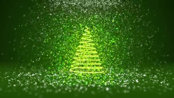 Wide angle shot of winter theme for Christmas or New Year background with copy space. Xmas tree from glow shiny particles in mid-frame. Green 3d Xmas tree V6 with snow DOF