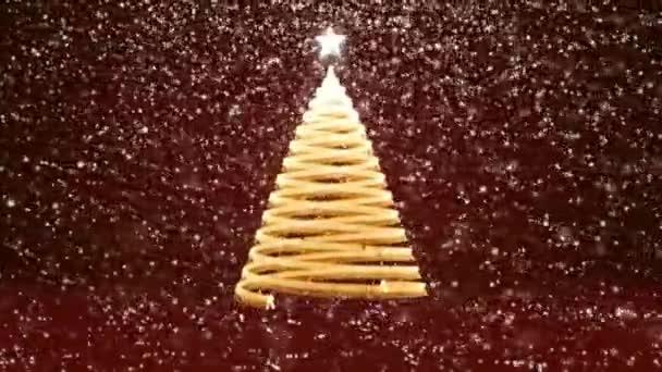 Zimní téma pro vánoční nebo novoroční pozadí s kopie prostoru. Detail vánoční strom záře lesklé částice v polovině snímku. Červená 3d vánoční strom V8 s sníh Dof rotující prostor