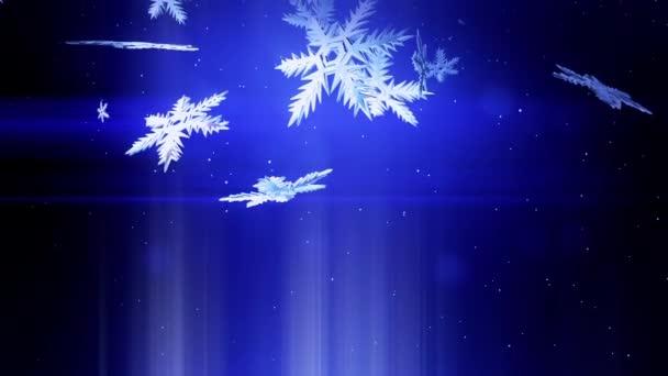 krásné 3d pokryje v noci na modrém pozadí. Použít jako animovaný vánoční, novoroční přání nebo zimní prostředí s velkými sněhové vločky, odlesk objektivu, bokeh. Sněhová vločka V8