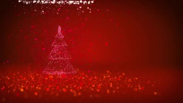 Red Christmas tree from glow shiny particles on the left in wide angle shoot. Winter theme for Xmas background with copy space. 3d Xmas tree V5 with glitter particles DOF