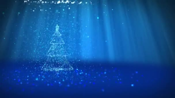 blue christmas tree from glow shiny particles on the left in wide angle shoot winter theme for xmas background with copy space