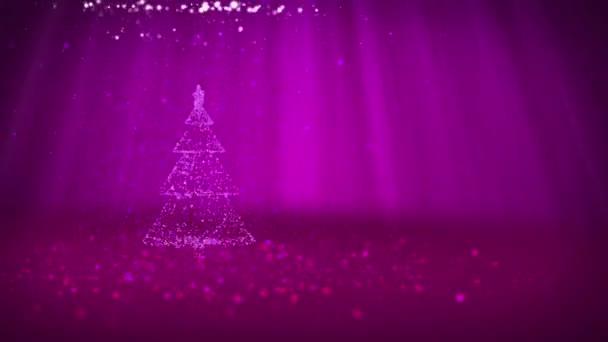 Fialová vánoční strom záře lesklé částice na levé straně v široký úhel natáčení. Zimní téma pro vánoční pozadí s kopie prostoru. 3D vánoční strom V5 s třpytkami částice Dof světelné paprsky rotující prostor