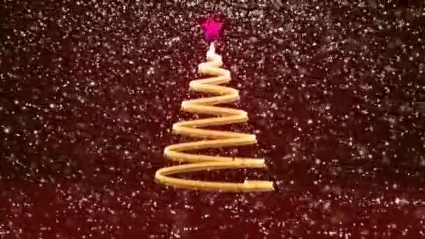 Zimní téma pro vánoční nebo novoroční pozadí s kopie prostoru. Detail vánoční strom záře lesklé částice v polovině snímku. Červená 3d vánoční strom V7 se sněhem Dof rotující prostor