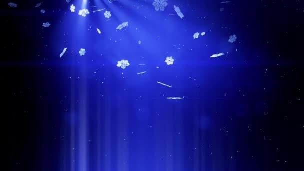dekorativní 3d sněhové vločky padající v noci na modrém pozadí. Použít jako animovaný vánoční, novoroční přání nebo zimní téma nebo pozadí s zářivé sněhové vločky, odlesk objektivu, bokeh. Sněhová vločka V2.