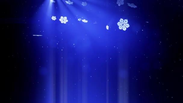 gyönyörű 3D-s hópelyhek alá tartozó, kék háttérrel. Animált karácsony vagy újév kártyát, mint a téli téma vagy háttér nagy hópelyhek, lencse fényfolt, bokeh használjuk. Hópehely V7