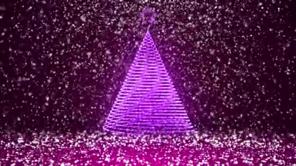 Winter theme for Christmas or New Year background with copy space. Close-Up of Xmas tree from glow shiny particles in mid-frame. Purple 3d Xmas tree V3 with snow DOF