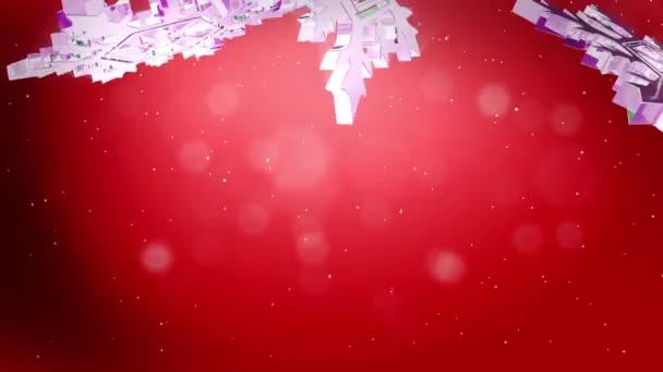 krásné 3d vločky vznášet ve vzduchu na červeném pozadí. Použít jako animovaný vánoční, novoroční přání nebo zimní téma nebo pozadí s velkým sněhové vločky, odlesk objektivu, bokeh. Sněhová vločka V5.
