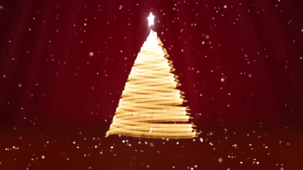 Winter theme for Christmas or New Year background with copy space. Close-Up of Xmas tree from glow shiny particles in mid-frame. Red 3d Xmas tree V9 with snow DOF light rays