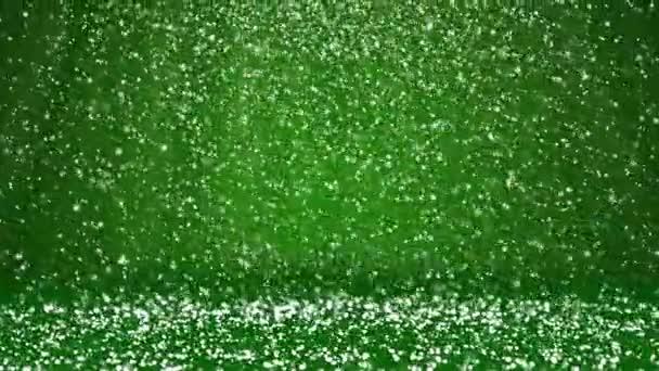 Sníh padat a usadit se na povrchu rotující. Zelená zimní pozadí jako místo pro reklamu nebo logo, Vánoce nebo nový rok karty. Bezproblémové cyklických pozadí s Dof, kopie prostor 5