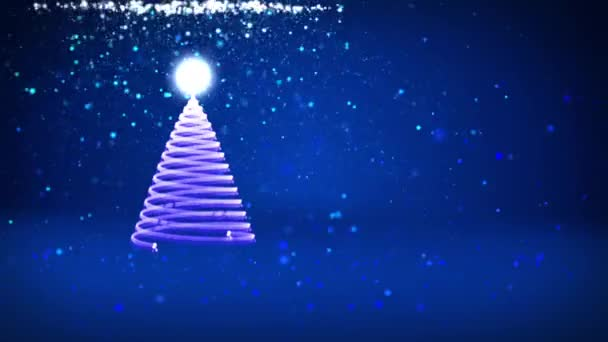 blue christmas tree from glow shiny particles on the left winter theme for xmas background