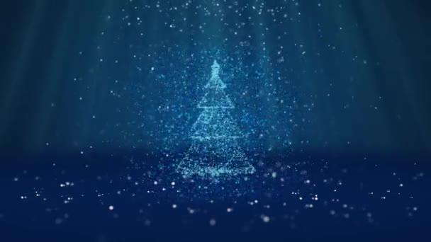 Širokoúhlý záběr zimní téma pro vánoční nebo novoroční pozadí s kopie prostoru. Vánoční strom záře lesklé částice v polovině snímku. Modrá 3d vánoční strom V5 s sněhu Dof světelné paprsky