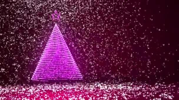 Velký vánoční strom záře lesklé částice na levé straně. Zimní téma pro Vánoce nebo nový rok pozadí s kopie prostoru. 3D vánoční strom V2 s sníh Dof