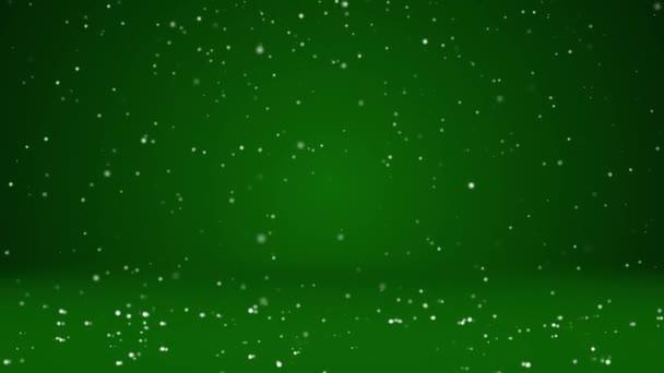 Sníh padat a usadit se na povrchu rotující. Zelená zimní pozadí jako místo pro reklamu nebo logo, Vánoce nebo nový rok karty. Bezproblémové cyklických pozadí s Dof, kopie prostor 2