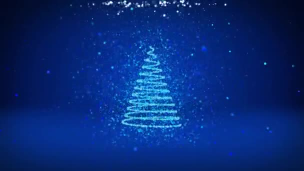 Wide angle shot of winter theme for Christmas or New Year background with copy space. Xmas tree from particles in mid-frame. Blue 3d Xmas tree V6 with glitter particles DOF rotating space