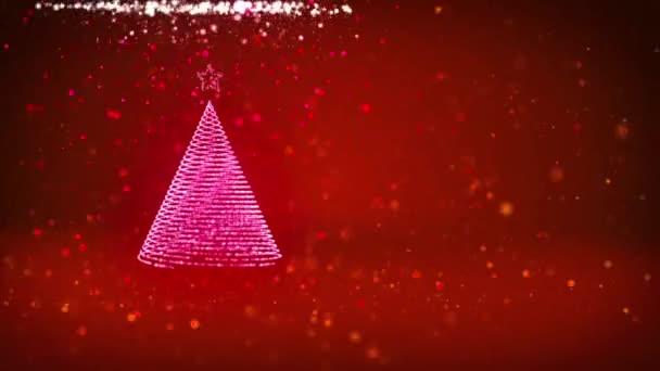 Vánoční stromeček z lesklé částice záře na levé straně v široký úhel natáčení. Zimní téma pro vánoční pozadí s kopie prostoru. Červená 3d vánoční strom V3 s třpytkami částice Dof rotující prostorem