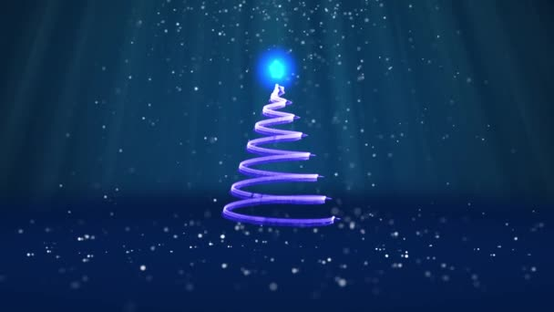 Wide angle shot of winter theme for Christmas or New Year background with copy space. Xmas tree from glow shiny particles in mid-frame. Blue 3d Xmas tree V7 with snow DOF light rays
