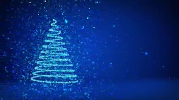 Modrý velký vánoční strom od záře lesklé částice na levé straně obrazovky. Zimní téma pro vánoční pozadí s kopie prostoru. 3D vánoční strom V6 s třpytkami částice Dof