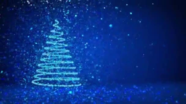 Grand Sapin De Noel De Lueur Brillantes Particules Sur Le Cote Gauche De L Ecran Theme Hiver Pour Fond De Noel Avec L Espace De La Copie Arbre De Noel 3d V6 Avec Des Particules De Paillettes Dof