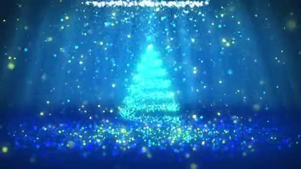 Széles szög lövés téli témája a karácsony vagy újév háttér-val másol hely. Xmas fa részecskék Közép keretben. Kék 3D-s karácsony fa V2 csillogó részecskéket Dof fénysugarak