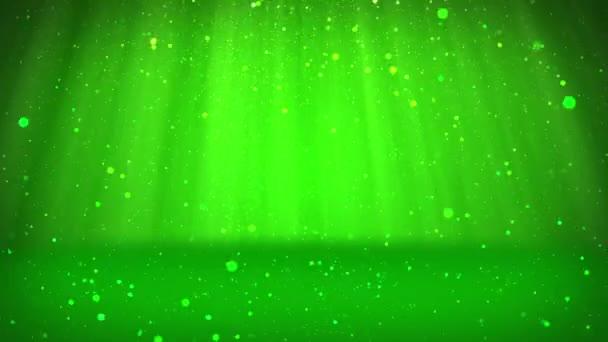 Fényes zöld részecskék vagy csillog tartoznak, és rendezni a felszínen. Háttér vagy hely tárgyak, hirdetése vagy logó. Varrat nélküli végtelenített háttér, Dof, másol hely, könnyű sugarak 4