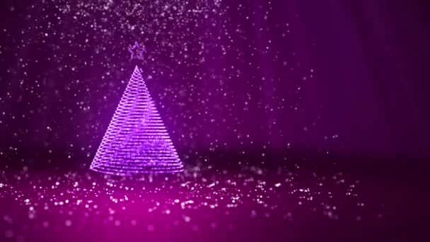 Christmas tree from glow shiny particles on the left in wide angle shoot. Winter theme for Xmas or New Year background with copy space. Purple 3d Xmas tree V3 with snow DOF light rays