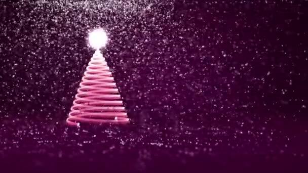 A fény a fényes részecskék bal karácsonyfa. Karácsony vagy újév háttér-val másol hely téli téma. 3D-s karácsony fa V8 hó Dof forgó tér