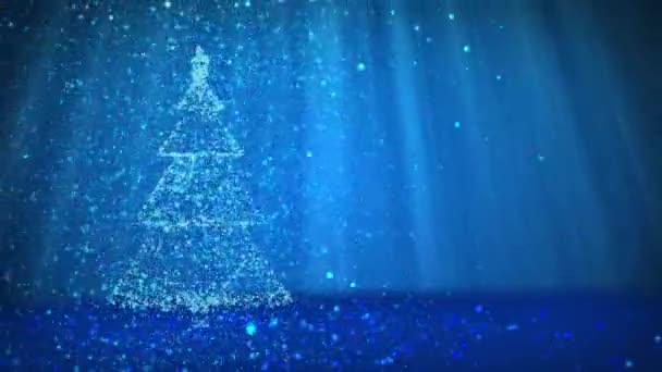 Modrý velký vánoční strom od záře lesklé částice na levé straně obrazovky. Zimní téma pro vánoční pozadí s kopie prostoru. 3D vánoční strom V5 s třpytkami částice Dof světelné paprsky