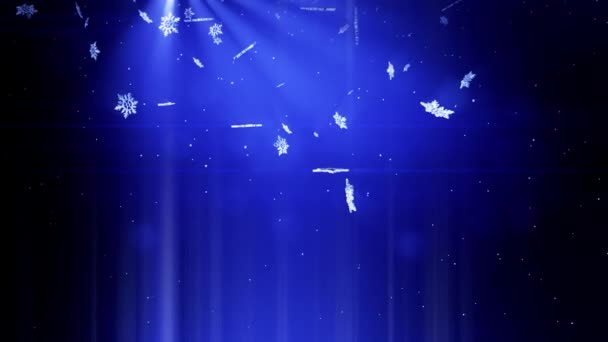 Svítící 3d sněhové vločky padající v noci na modrém pozadí. Použít jako animovaný vánoční, novoroční přání nebo zimní téma nebo pozadí s velkým sněhové vločky, odlesk objektivu, bokeh. Sněhová vločka V10