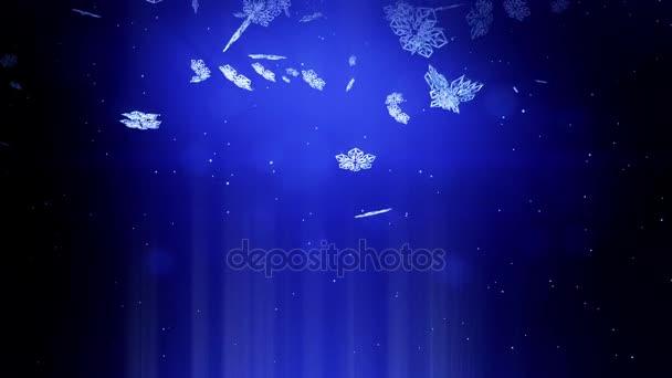 dekorativní 3d sněhové vločky padající v noci na modrém pozadí. Použít jako animovaný vánoční, novoroční přání nebo zimní téma nebo pozadí s zářivé sněhové vločky, odlesk objektivu, bokeh. Sněhová vločka V1