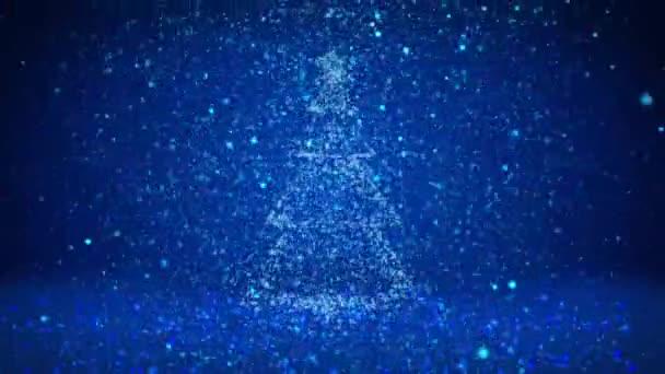 Zimní téma pro vánoční nebo novoroční pozadí s kopie prostoru. Detail vánoční strom z částic v polovině snímku. Modrá 3d vánoční strom V5 s třpytkami částice Dof