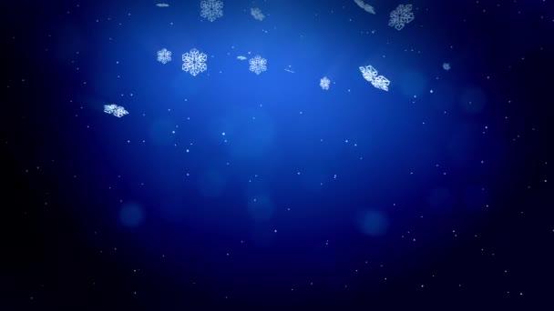 gyönyörű 3D-s hópelyhek alá tartozó, kék háttérrel. Animált karácsony vagy újév kártyát, mint a téli téma vagy háttér nagy hópelyhek, lencse fényfolt, bokeh használjuk. Hópehely V6