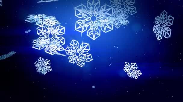 krásné 3d pokryje v noci na modrém pozadí. Použít jako animovaný vánoční, novoroční přání nebo zimní prostředí s velkými sněhové vločky, odlesk objektivu, bokeh. Sněhová vločka V6