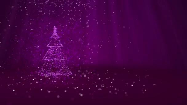 Fialová vánoční strom záře lesklé částice na levé straně v široký úhel natáčení. Zimní téma pro Vánoce nebo nový rok pozadí s kopie prostoru. 3D vánoční strom V5 se sněhem Dof světelné paprsky