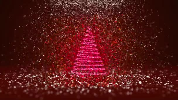 Wide angle shot of winter theme for Christmas or New Year background with copy space. Xmas tree from glow shiny particles in mid-frame. Red 3d Xmas tree V6 with snow DOF
